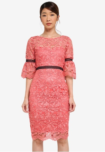 Paper Dolls pink Crochet Lace Dress With Contrast Trim 81E27AA64662EFGS_1