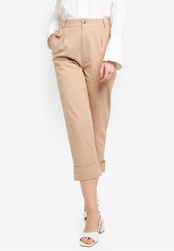 Hopeshow brown and beige Folded Cuff Capri Pants 96E8CAA5E40A73GS_1