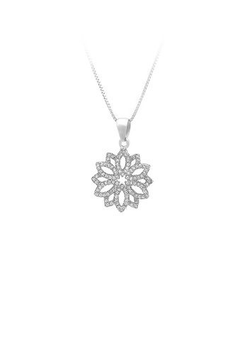 Glamorousky silver 925 Sterling Silver Flower Pendant with White Cubic Zircon and Necklace 4266BACBC42F8BGS_1