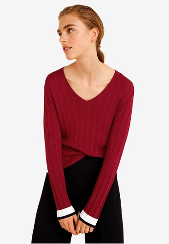 Mango red Contrast-Edge Sweater 0C5B2AA5905A7FGS_1