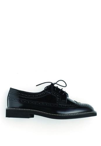 HARUTA black Quilt Lace-Up Shoes-379 4B77DSH30564B2GS_1