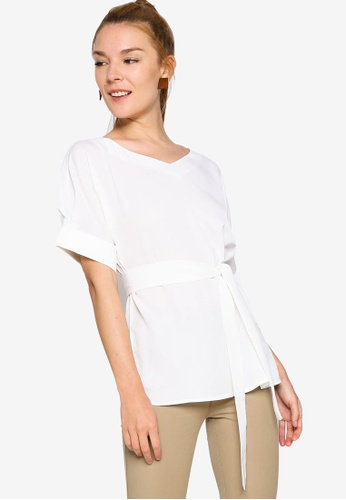 ZALORA WORK white Oversized Top With Self Tie A7B9DAA379F59FGS_1
