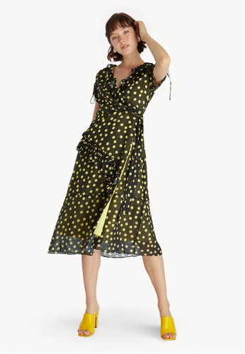 4960f06a2356 Pomelo black Midi Surplice Polka Dot Dress - Black A747EAA3E21FE9GS 1