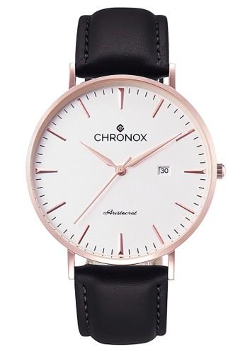 CHRONOX black and white and gold Chronox CX1002/B1 - Jam Tangan Wanita Casual - Tali Kulit Hitam - Putih Rose Gold 21C40AC7B1D6CCGS_1