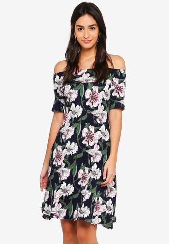 Dorothy Perkins navy Navy And Pink Floral Bardot Dress E23ABAA9F02E84GS_1
