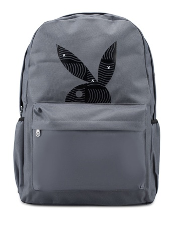 Playboy grey Printed Backpack 1D02DAC7ABE7E5GS_1