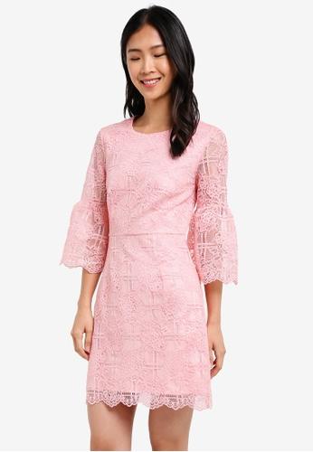 ZALORA pink Studio Fit & Flare Lace Dress 4A3C0AA4EE9393GS_1