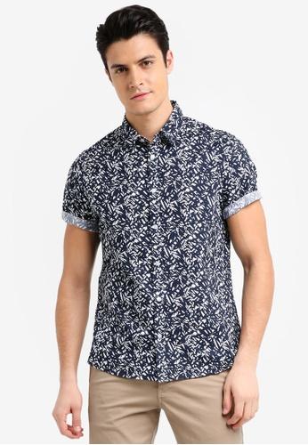 Burton Menswear London navy Navy Short Sleeve Abstract Leaf Print Shirt CF52AAAEA0E1A6GS_1