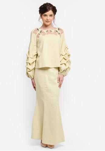 Zalia yellow Pulled Sleeve Set with Embroidery AD6AAAAA05F24EGS_1