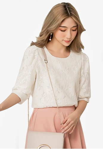 Eyescream white Puff Sleeve Lace Blouse 96DDEAADB95908GS_1