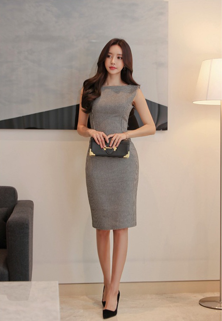 New 2018 Sunnydaysweety Sleeveless One Grey Piece Simple Grey Style Dress A051625 ZBOgCqx