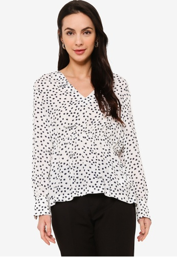 Sacoor Brothers white Women's Polka Dots Printed Blouse CF75AAA148A31FGS_1
