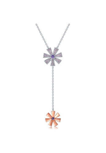 MBLife silver 925 Sterling Silver Red Plated Pink and Violet CZ Flower Lariat Necklace 71806AC4A2AFCFGS_1