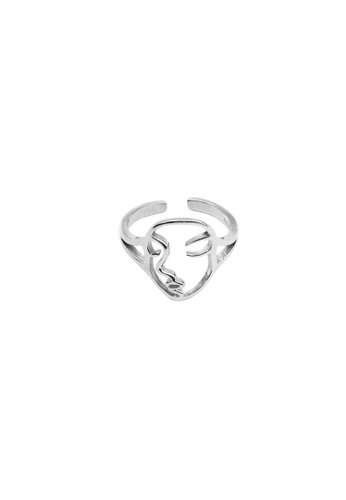 LYCKA silver LDR1274 S925 Silver Portrait Lines Ring 98E22ACE90EE7BGS_1