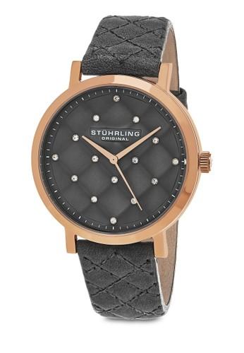 Audzalora 內衣rey 閃鑽菱格紋圓錶, 錶類, 皮革錶帶