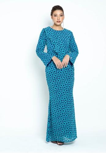 OWLBYND blue Andrea  Ruffles Kurung 768B6AA36E6A7DGS_1