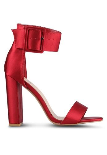 Velvet red Satin Ankle Heels C35D9SHEAC265BGS_1