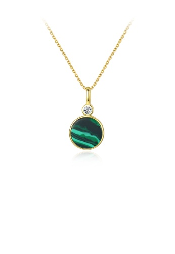 Glamorousky white 925 Sterling Silver Plated Gold Fashion Simple Geometric Round Imitation Malachite Pendant with Cubic Zirconia and Necklace 321F9AC2C1C935GS_1