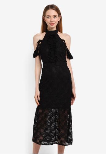 LOST INK black Lace Bodycon Frill Shoulder Dress 8590BAA74FB6F4GS_1