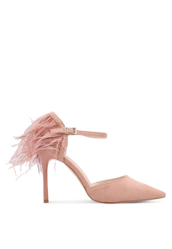 Velvet pink Feather Dancing Heels 14D56SH049701FGS_1