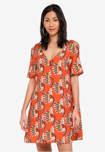 Glamorous orange V Neck Autumn Shift Dress 889B0AA4775054GS_1