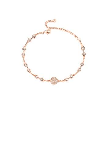 Glamorousky white Fashion Temperament Plated Rose Gold Geometric Round Cubic Zirconia Bracelet A2D5FAC5BB33E2GS_1