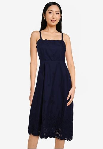 GAP navy Square Neck Eyelet Midi Dress 8C098AA79626EAGS_1