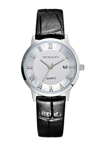 SANDA white SANDA P188L Genuine Leather Black Band Date Display Quartz Watch for Women (White Silver) SA708AC0RXEFMY_1