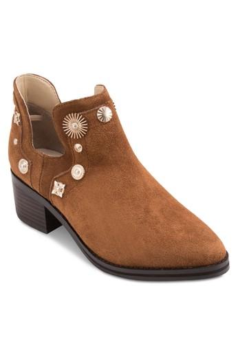 Octavia 造型鉚釘麂esprit 品牌皮踝靴, 韓系時尚, 梳妝