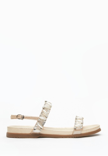 PAZZION beige Crystal Embellished Strappy Sandals EE667SH20698D4GS_1