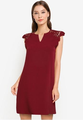 ZALORA WORK red Lace Sleeve Notch Neck Dress FAEA3AAEA3FEE4GS_1