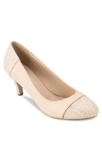 圓頭拼接zalora 折扣碼高跟鞋, 女鞋, 厚底高跟鞋