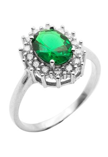 Elfi green Elfi 925 Genuine Silver Engagement Ring M30 - The Green Precious EL186AC50ZCBMY_1