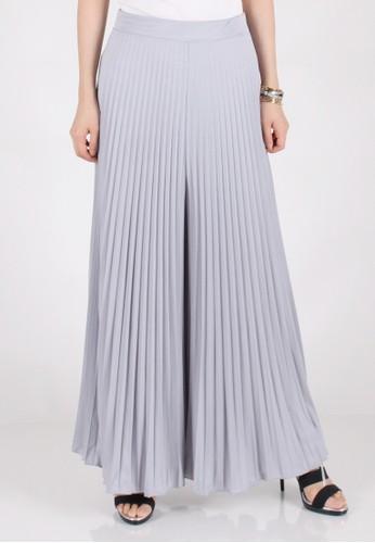 Meitavi's Kulot Plisket Flared Wide-Leg Culottes - Light Grey