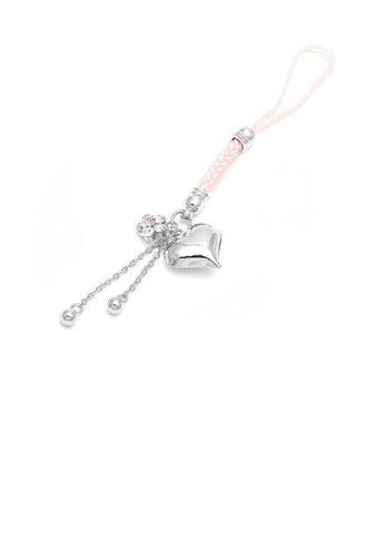 Glamorousky silver Pink Strap with Silver Heart Charm and Flower in Pink and Silver Austrian Element Crystals FA489AC65B82E2GS_1
