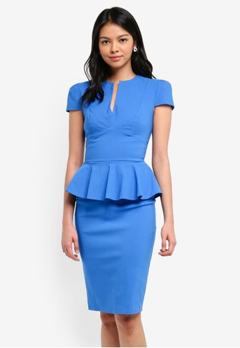 Goddiva blue Deep V Peplum Dress 27CDEAA12EF199GS_1
