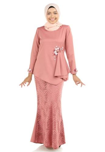 Ashura pink Dinara Kurung with Drapes D1D4EAA13034C3GS_1