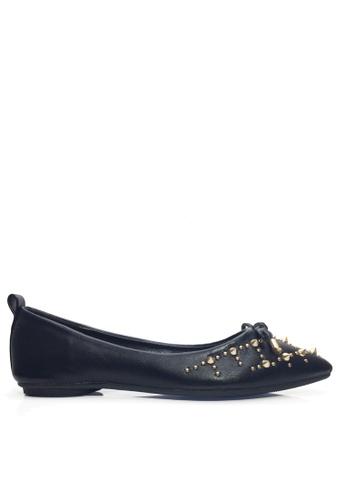 Twenty Eight Shoes 黑色 鉚釘及蝴蝶結平底鞋 VL90245 C400ESH494AE1FGS_1