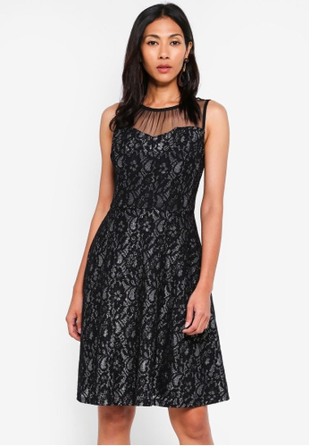 a668207ec Dorothy Perkins multi Black And Silver Shimmer Lace Fit And Flare Dress  B8A2BAA0240DA7GS_1