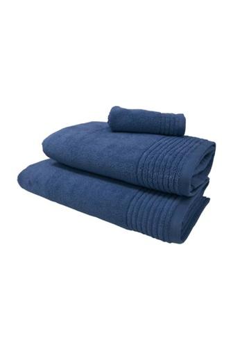 HOOGA blue Hooga Oversize Towel Chloe True Navy (Bundle of 2) FFA7FHLCEBECE7GS_1
