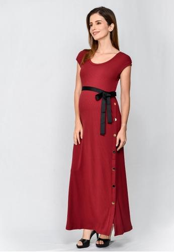 964d6007b6e74 9months Maternity red Maternity Side Button Split Maxi Dress  15CE4AA07214D8GS_1