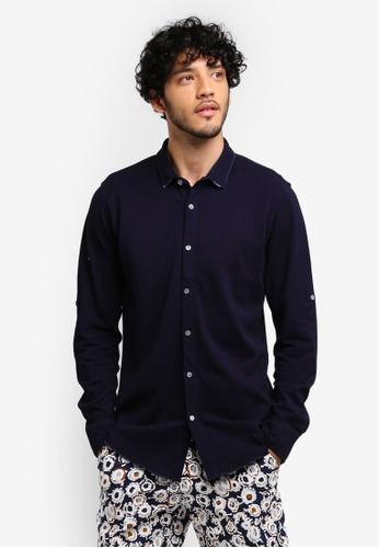 ZALORA navy Distressed Denim Jersey Long Sleeve Shirt D77D5AA2BE264AGS_1