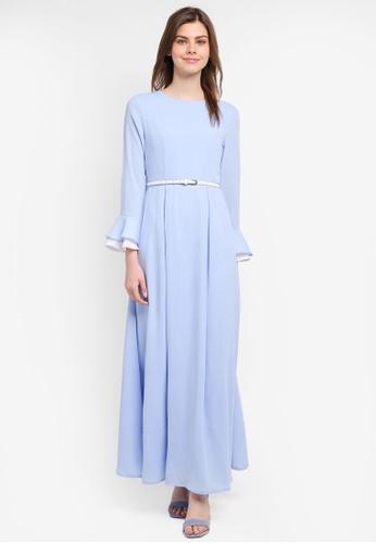 Zalia blue Layered Sleeve Fit & Flare Dress 44985AAA870602GS_1
