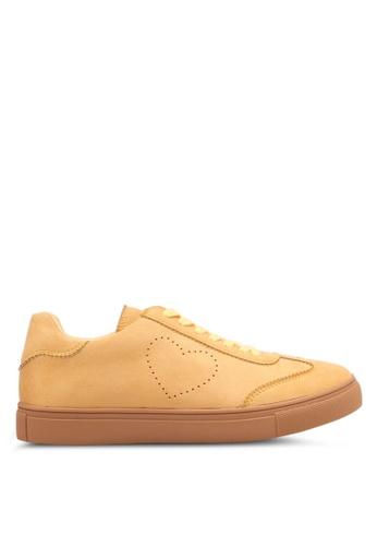 Velvet yellow Side Heart Shaped Sneakers 370E1SHDBA8AD9GS_1