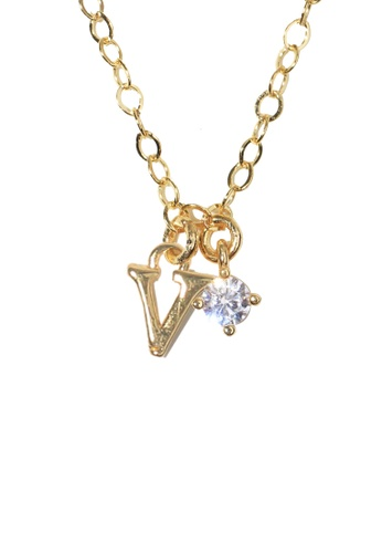 PSYNDROME gold Personalised Initial Letter Alphabet with Cubic Zircona Necklace - V 176B8AC3BBAFEDGS_1