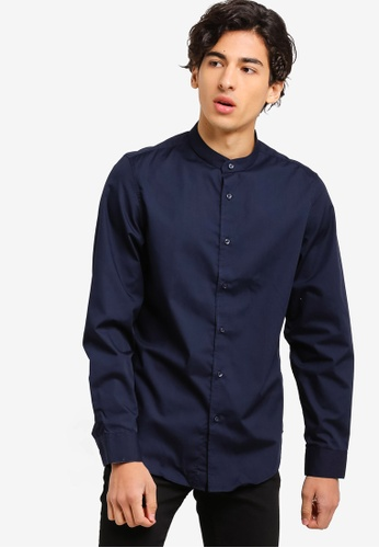 OVS 藍色 素色立領襯衫 D69A5AAD5A3666GS_1