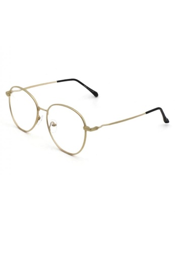 Dandelion gold Retro Oval Crooked Side Blue Light Filtered Glasses 25AE2GL888CC7EGS_1