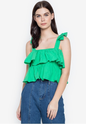 Spring Fling green Strappy Ruffle Top FC542AA208F063GS_1