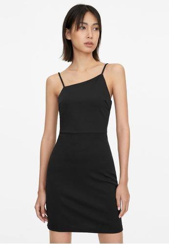 Pomelo black Asymmetric Neckline Cami Dress - Black 9DF17AAF4E1E5CGS_1