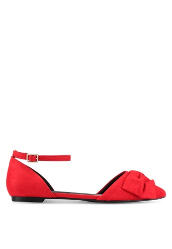River Island red Trot Point Toe Two Part With Bow RI009SH0SIUNMY_1